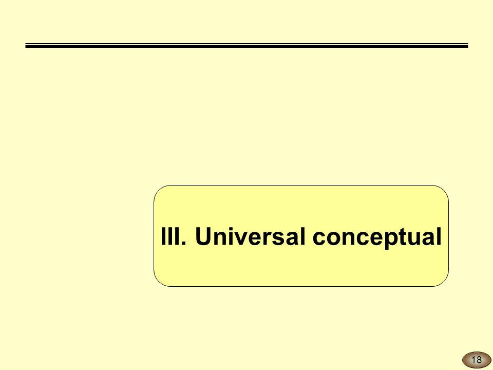 III. Universal conceptual 18