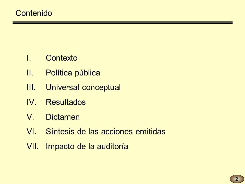 I.Contexto II.Política pública III.Universal conceptual IV.Resultados V.Dictamen VI.Síntesis de las acciones emitidas VII.Impacto de la auditoría Contenido 2