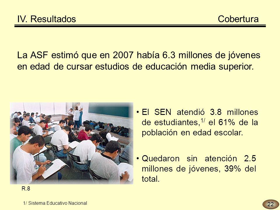 La ASF estimó que en 2007 había 6.3 millones de jóvenes en edad de cursar estudios de educación media superior.
