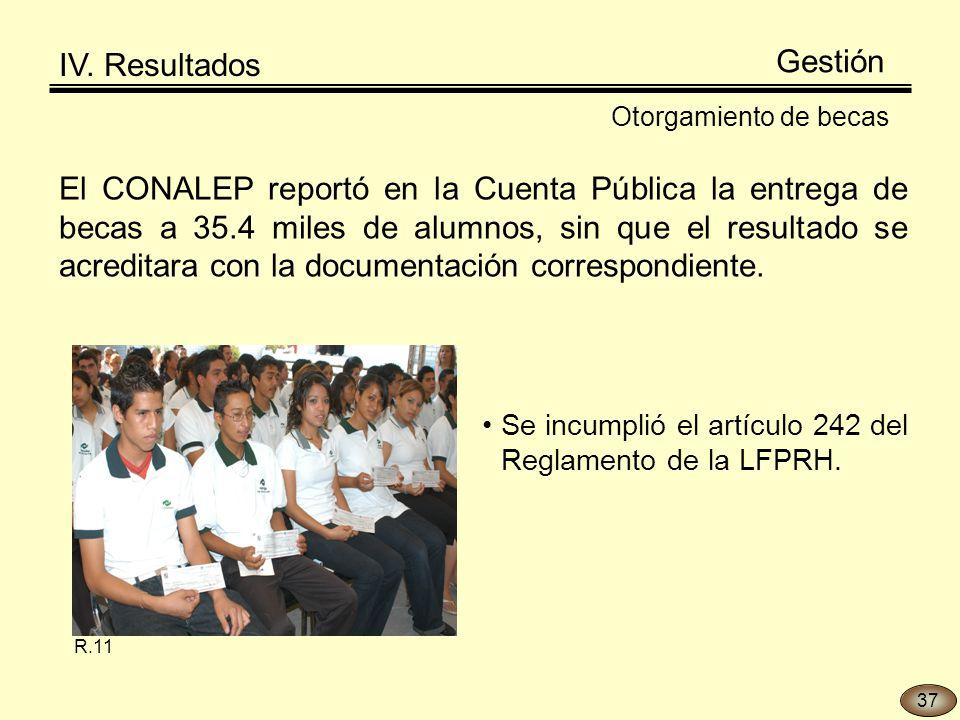 Otorgamiento de becas El CONALEP reportó en la Cuenta Pública la entrega de becas a 35.4 miles de alumnos, sin que el resultado se acreditara con la documentación correspondiente.