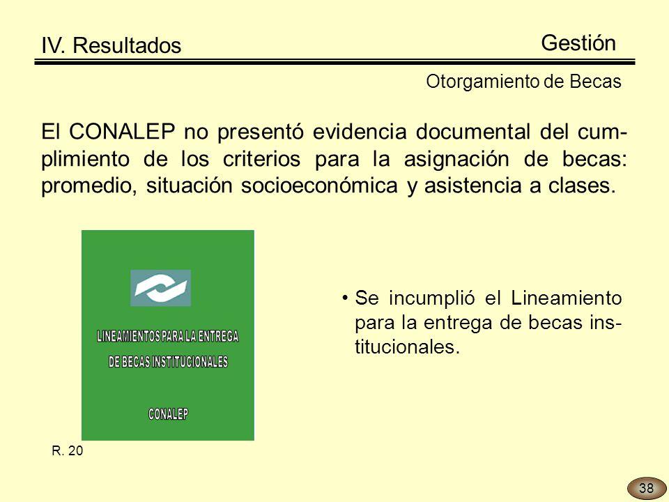 El CONALEP no presentó evidencia documental del cum- plimiento de los criterios para la asignación de becas: promedio, situación socioeconómica y asistencia a clases.