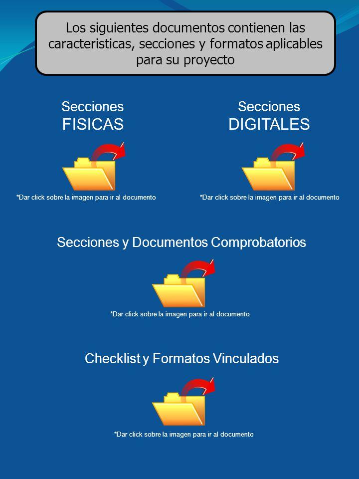 Secciones y Documentos Comprobatorios *Dar click sobre la imagen para ir al documento Checklist y Formatos Vinculados Los siguientes documentos contie
