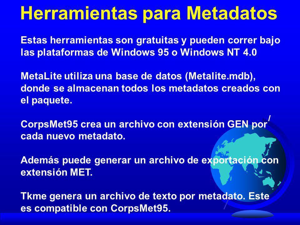 Estas herramientas son gratuitas y pueden correr bajo las plataformas de Windows 95 o Windows NT 4.0 MetaLite utiliza una base de datos (Metalite.mdb)