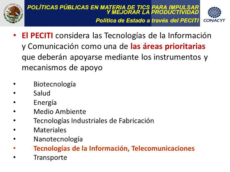 POLÍTICAS PÚBLICAS EN MATERIA DE TICS PARA IMPULSAR Y MEJORAR LA PRODUCTIVIDAD Política de Estado a través del PECITI El PECITI considera las Tecnologías de la Información y Comunicación como una de las áreas prioritarias que deberán apoyarse mediante los instrumentos y mecanismos de apoyo Biotecnología Salud Energía Medio Ambiente Tecnologías Industriales de Fabricación Materiales Nanotecnología Tecnologías de la Información, Telecomunicaciones Transporte