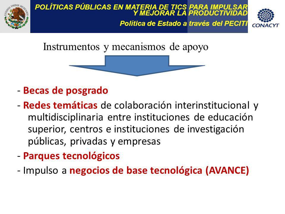 - Becas de posgrado - Redes temáticas de colaboración interinstitucional y multidisciplinaria entre instituciones de educación superior, centros e instituciones de investigación públicas, privadas y empresas - Parques tecnológicos - Impulso a negocios de base tecnológica (AVANCE) POLÍTICAS PÚBLICAS EN MATERIA DE TICS PARA IMPULSAR Y MEJORAR LA PRODUCTIVIDAD Política de Estado a través del PECITI Instrumentos y mecanismos de apoyo