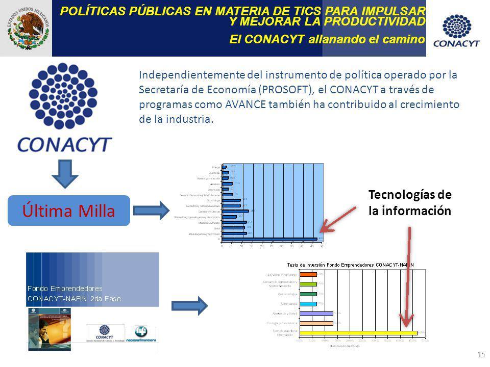 15 POLÍTICAS PÚBLICAS EN MATERIA DE TICS PARA IMPULSAR Y MEJORAR LA PRODUCTIVIDAD El CONACYT allanando el camino Independientemente del instrumento de política operado por la Secretaría de Economía (PROSOFT), el CONACYT a través de programas como AVANCE también ha contribuido al crecimiento de la industria.