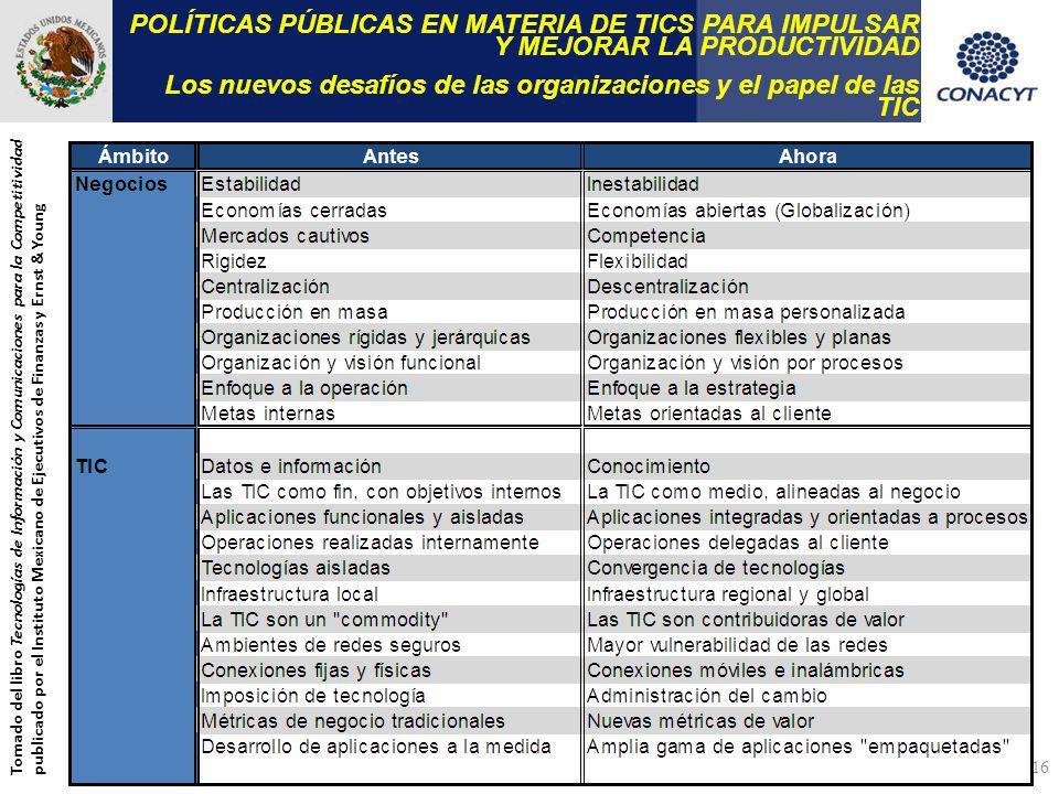 POLÍTICAS PÚBLICAS EN MATERIA DE TICS PARA IMPULSAR Y MEJORAR LA PRODUCTIVIDAD Los nuevos desafíos de las organizaciones y el papel de las TIC Tomado del libro Tecnologías de Información y Comunicaciones para la Competitividad publicado por el Instituto Mexicano de Ejecutivos de Finanzas y Ernst & Young 16