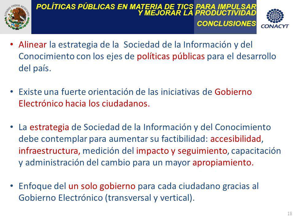 POLÍTICAS PÚBLICAS EN MATERIA DE TICS PARA IMPULSAR Y MEJORAR LA PRODUCTIVIDAD CONCLUSIONES 18 Alinear la estrategia de la Sociedad de la Información
