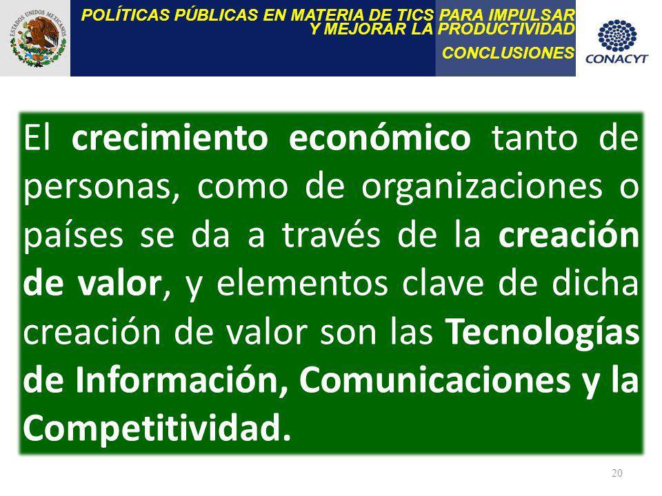20 El crecimiento económico tanto de personas, como de organizaciones o países se da a través de la creación de valor, y elementos clave de dicha creación de valor son las Tecnologías de Información, Comunicaciones y la Competitividad.
