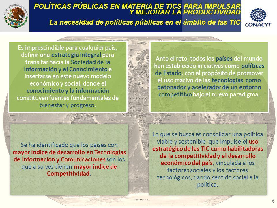 POLÍTICAS PÚBLICAS EN MATERIA DE TICS PARA IMPULSAR Y MEJORAR LA PRODUCTIVIDAD La necesidad de políticas públicas en el ámbito de las TIC Es imprescin