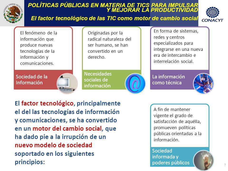 7 POLÍTICAS PÚBLICAS EN MATERIA DE TICS PARA IMPULSAR Y MEJORAR LA PRODUCTIVIDAD El factor tecnológico de las TIC como motor de cambio social Sociedad