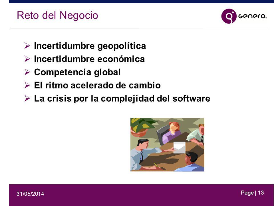 31/05/2014 Page | 13 Reto del Negocio Incertidumbre geopolítica Incertidumbre económica Competencia global El ritmo acelerado de cambio La crisis por la complejidad del software
