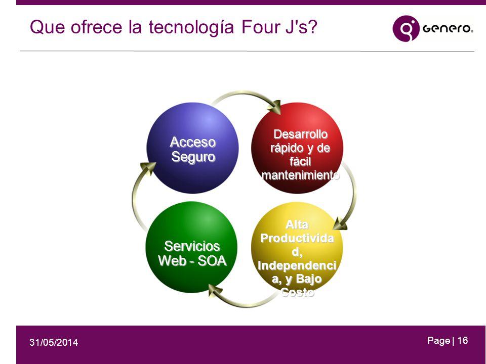 31/05/2014 Page | 16 Acceso Seguro Desarrollo rápido y de fácil mantenimiento Servicios Web - SOA Alta Productivida d, Independenci a, y Bajo Costo Que ofrece la tecnología Four J s