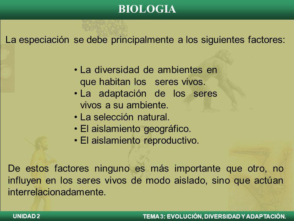 BIOLOGIA TEMA 3: EVOLUCIÓN, DIVERSIDAD Y ADAPTACIÓN. UNIDAD 2 La especiación se debe principalmente a los siguientes factores: La diversidad de ambien