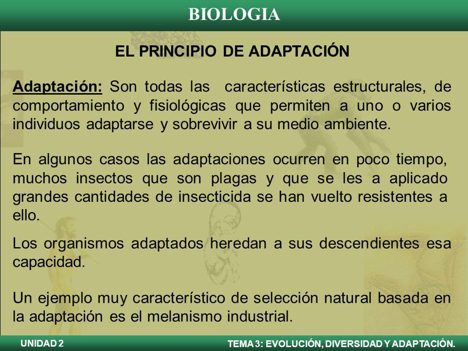 BIOLOGIA TEMA 3: EVOLUCIÓN, DIVERSIDAD Y ADAPTACIÓN. UNIDAD 2 EL PRINCIPIO DE ADAPTACIÓN Adaptación: Son todas las características estructurales, de c
