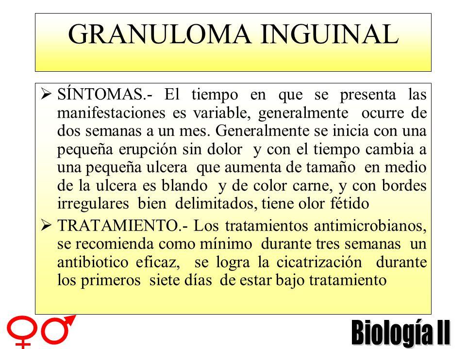 GRANULOMA INGUINAL DESCRIPCIÓN.- Se caracteriza por presentar lesiones ulcerosas en la región genital inquinal y perineal con menos frecuencia puede a