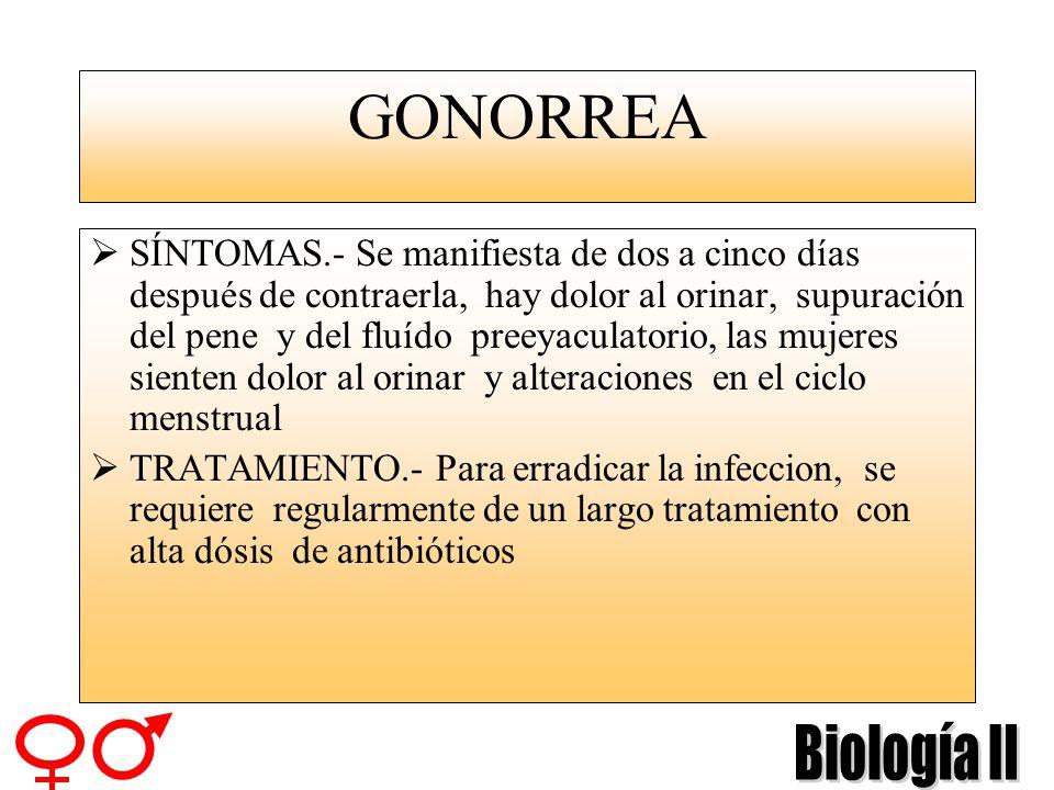 GONORREA DESCRIPCIÓN.- Esta enfermedad ataca sobre todo el área de los genitales, aunque a veces se dan casos en que la boca y la garganta pueden ser