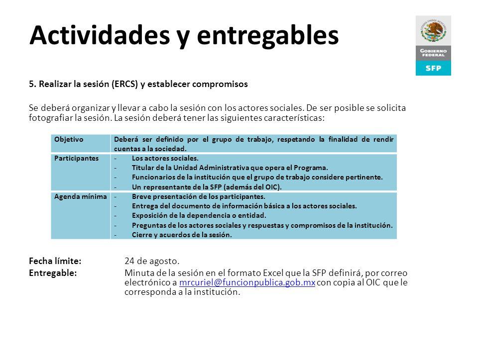 Proceso de Rendición de Cuentas Actividades y entregables 5.