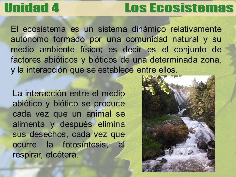 El ecosistema es un sistema dinámico relativamente autónomo formado por una comunidad natural y su medio ambiente físico; es decir es el conjunto de f
