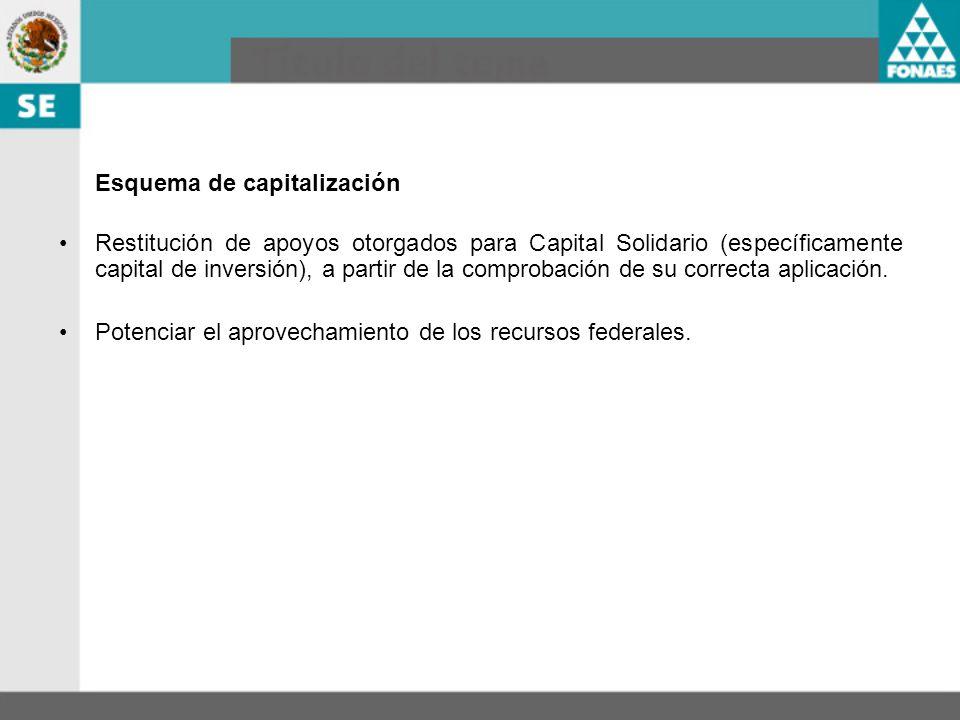 Esquema de capitalización Restitución de apoyos otorgados para Capital Solidario (específicamente capital de inversión), a partir de la comprobación d