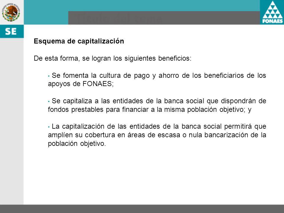 Esquema de capitalización De esta forma, se logran los siguientes beneficios: Se fomenta la cultura de pago y ahorro de los beneficiarios de los apoyo
