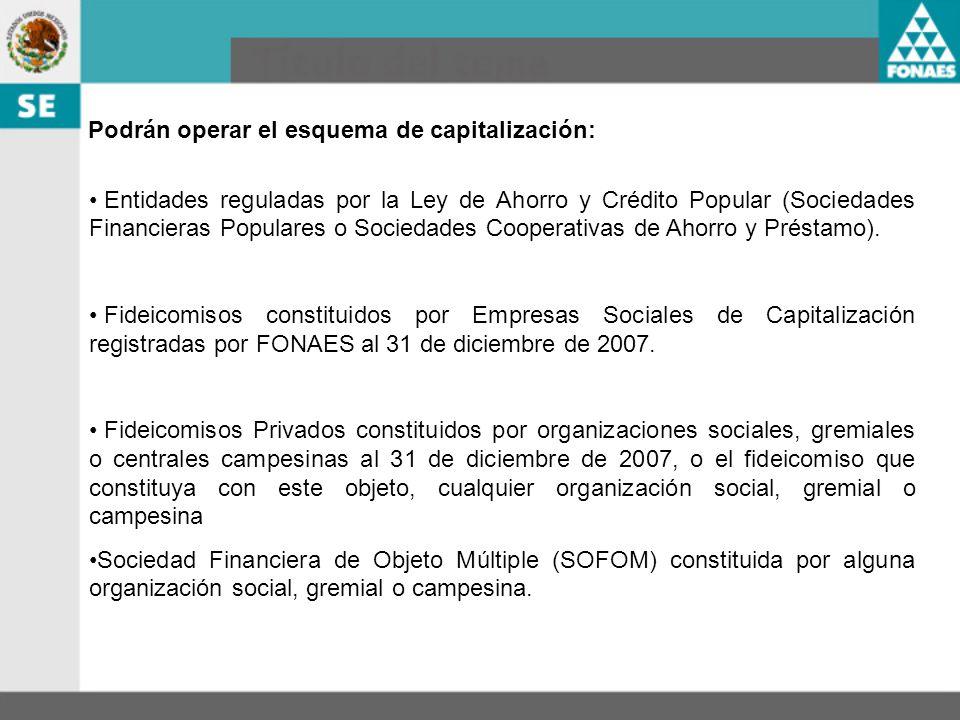 Podrán operar el esquema de capitalización: Entidades reguladas por la Ley de Ahorro y Crédito Popular (Sociedades Financieras Populares o Sociedades