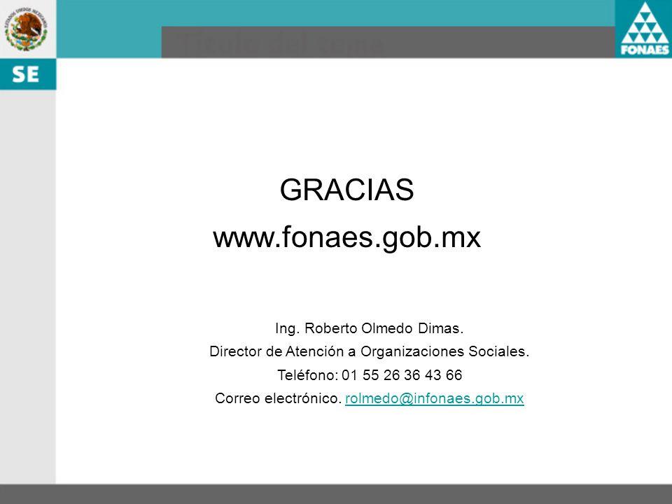 GRACIAS www.fonaes.gob.mx Ing. Roberto Olmedo Dimas. Director de Atención a Organizaciones Sociales. Teléfono: 01 55 26 36 43 66 Correo electrónico. r