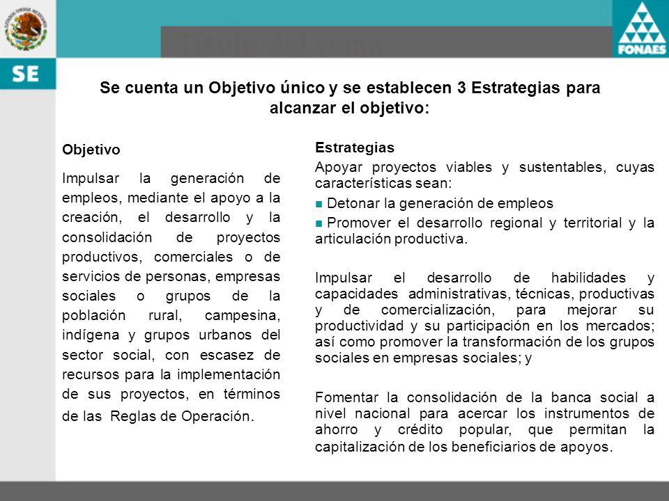 Se cuenta un Objetivo único y se establecen 3 Estrategias para alcanzar el objetivo: Objetivo Impulsar la generación de empleos, mediante el apoyo a l