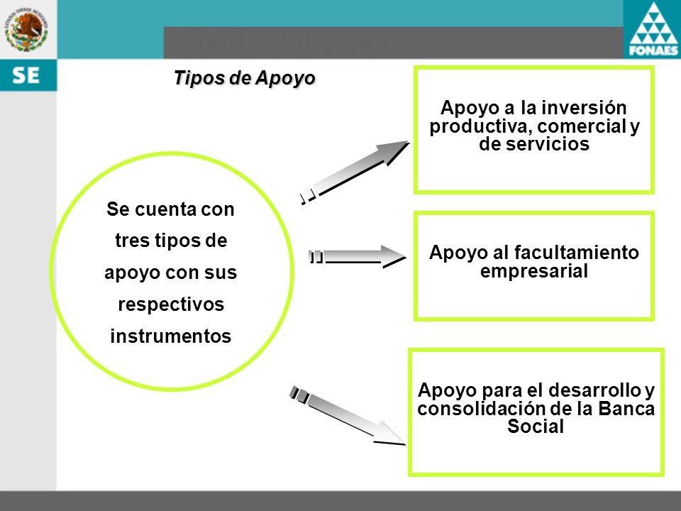 Tipos de Apoyo Se cuenta con tres tipos de apoyo con sus respectivos instrumentos Apoyo a la inversión productiva, comercial y de servicios Apoyo para