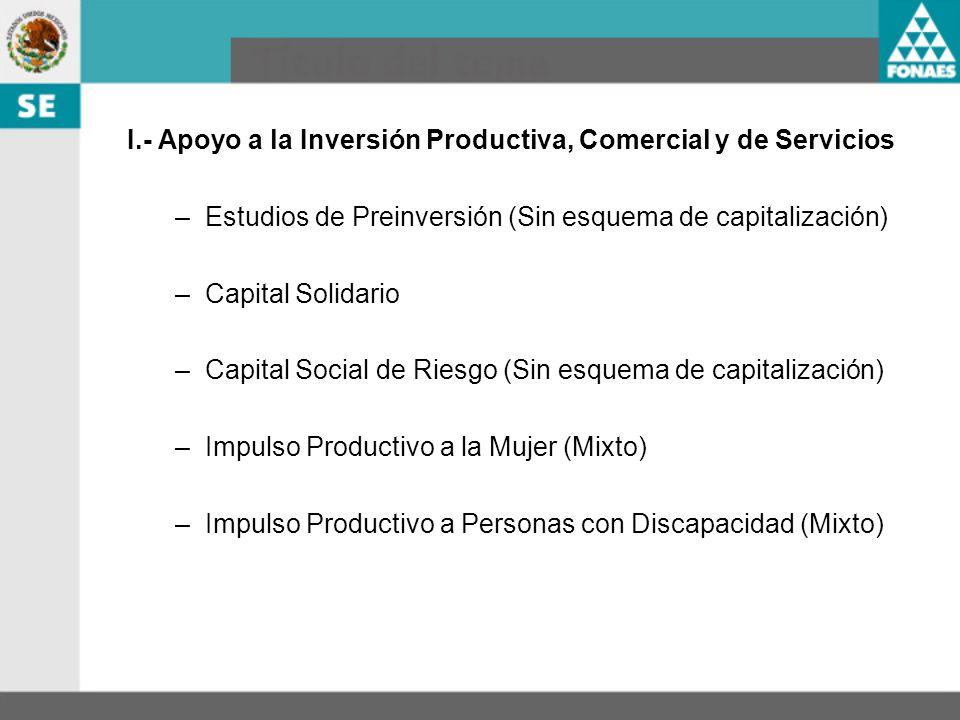 I.- Apoyo a la Inversión Productiva, Comercial y de Servicios –Estudios de Preinversión (Sin esquema de capitalización) –Capital Solidario –Capital So