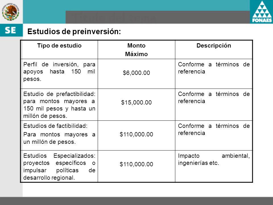 Estudios de preinversión: Tipo de estudioMonto Máximo Descripción Perfil de inversión, para apoyos hasta 150 mil pesos. $6,000.00 Conforme a términos