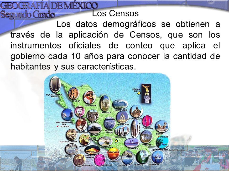 Los Censos Los datos demográficos se obtienen a través de la aplicación de Censos, que son los instrumentos oficiales de conteo que aplica el gobierno cada 10 años para conocer la cantidad de habitantes y sus características.