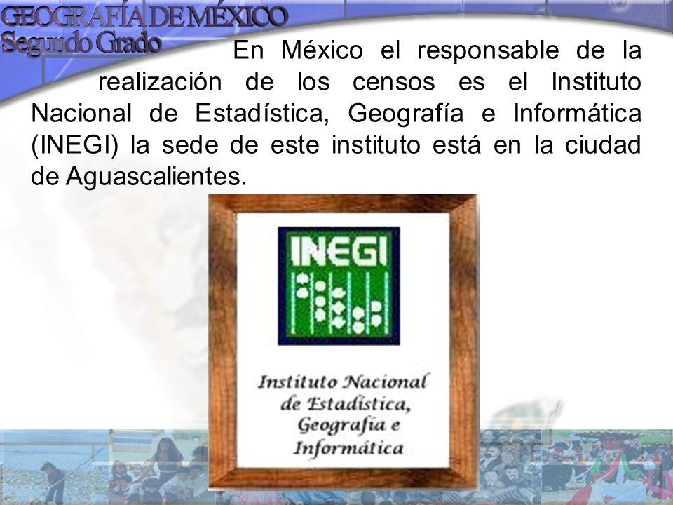 En México el responsable de la realización de los censos es el Instituto Nacional de Estadística, Geografía e Informática (INEGI) la sede de este inst