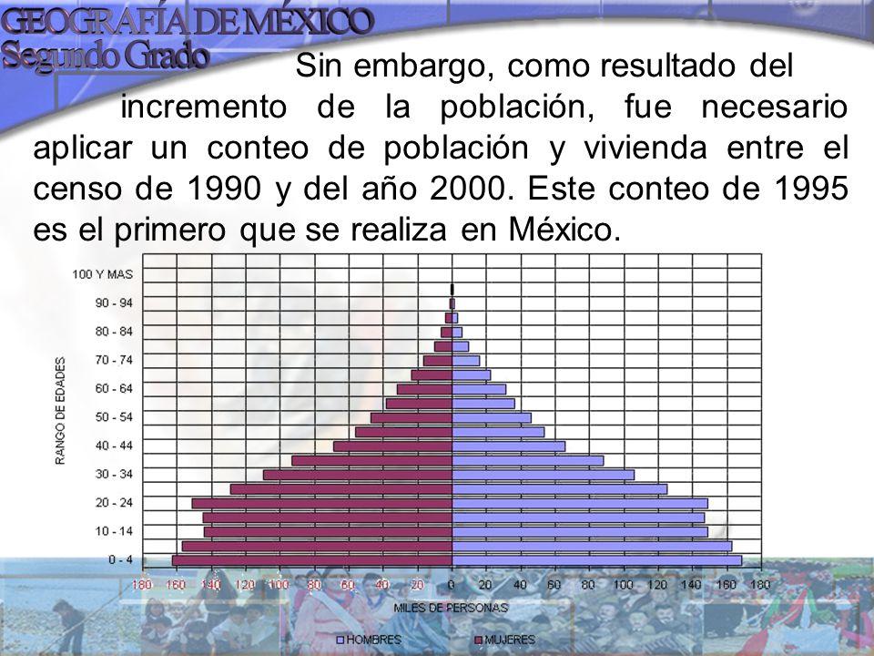 Sin embargo, como resultado del incremento de la población, fue necesario aplicar un conteo de población y vivienda entre el censo de 1990 y del año 2