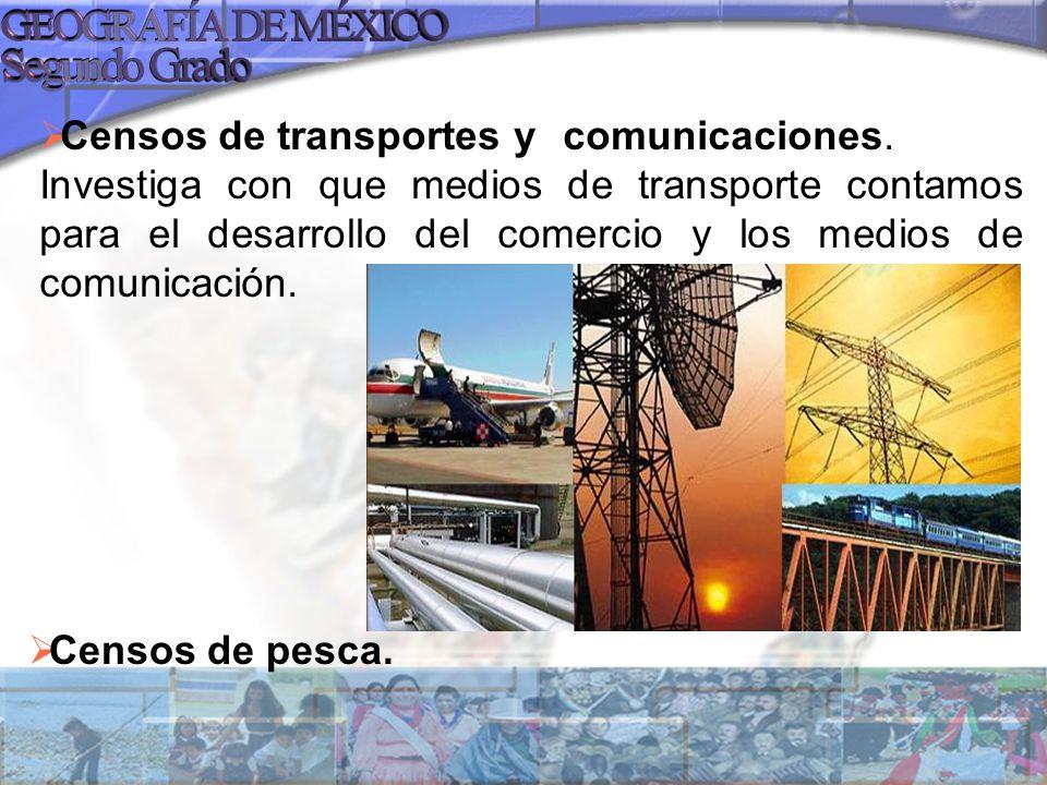 Censos de transportes y comunicaciones. Investiga con que medios de transporte contamos para el desarrollo del comercio y los medios de comunicación.