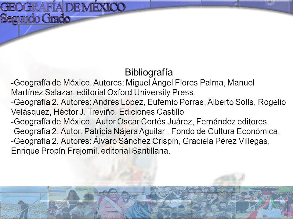 Bibliografía -Geografía de México. Autores: Miguel Ángel Flores Palma, Manuel Martínez Salazar, editorial Oxford University Press. -Geografía 2. Autor