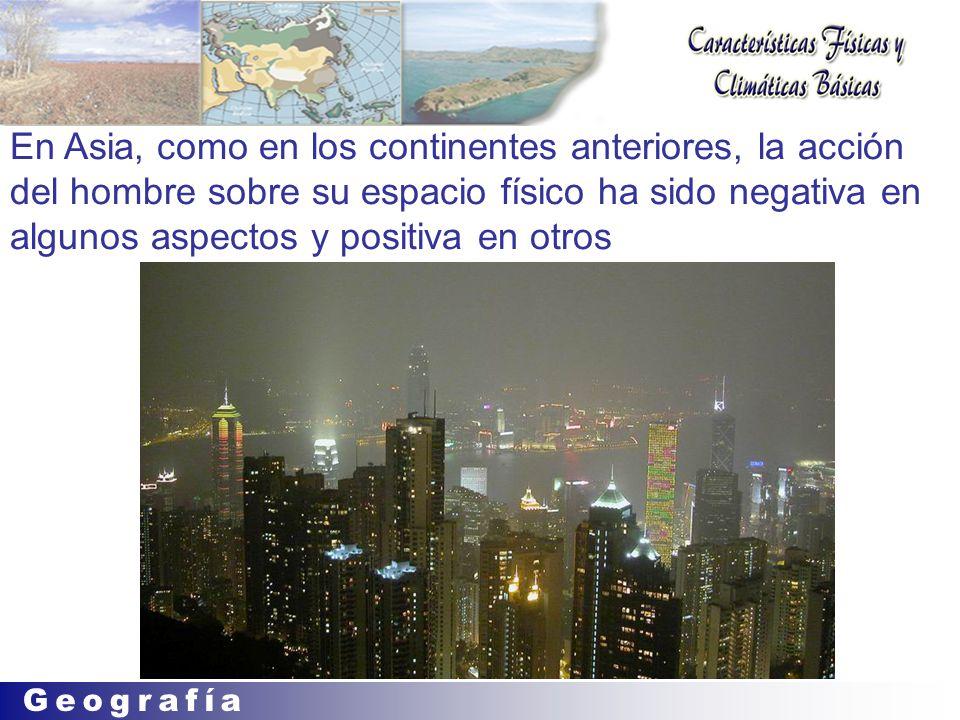 En Asia, como en los continentes anteriores, la acción del hombre sobre su espacio físico ha sido negativa en algunos aspectos y positiva en otros
