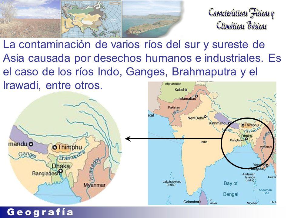 La contaminación de varios ríos del sur y sureste de Asia causada por desechos humanos e industriales.