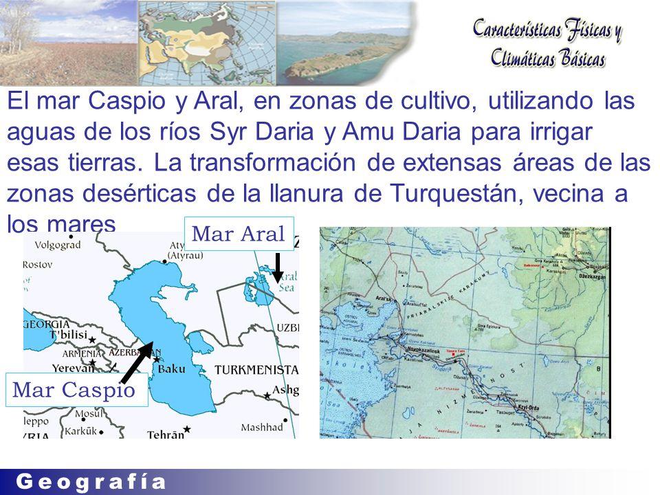 El mar Caspio y Aral, en zonas de cultivo, utilizando las aguas de los ríos Syr Daria y Amu Daria para irrigar esas tierras.