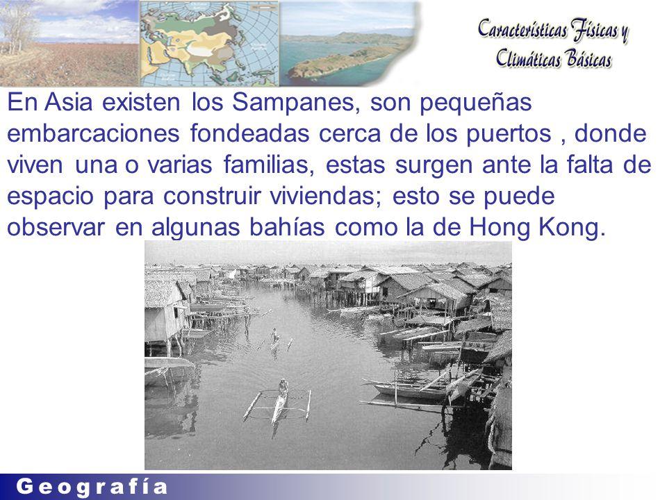 En Asia existen los Sampanes, son pequeñas embarcaciones fondeadas cerca de los puertos, donde viven una o varias familias, estas surgen ante la falta de espacio para construir viviendas; esto se puede observar en algunas bahías como la de Hong Kong.