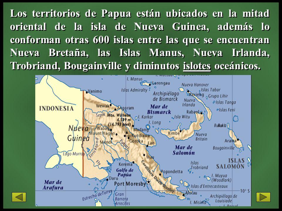 Los territorios de Papua están ubicados en la mitad oriental de la isla de Nueva Guinea, además lo conforman otras 600 islas entre las que se encuentr