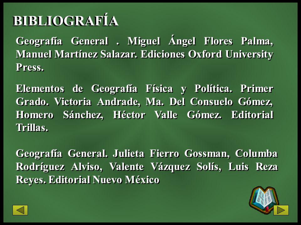 BIBLIOGRAFÍA Geografía General. Miguel Ángel Flores Palma, Manuel Martínez Salazar. Ediciones Oxford University Press. Geografía General. Julieta Fier