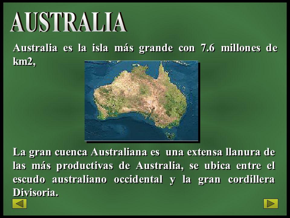 Australia es la isla más grande con 7.6 millones de km2, La gran cuenca Australiana es una extensa llanura de las más productivas de Australia, se ubi