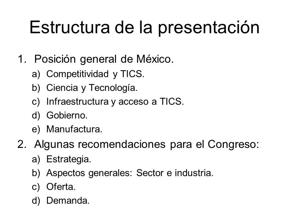 Estructura de la presentación 1.Posición general de México. a)Competitividad y TICS. b)Ciencia y Tecnología. c)Infraestructura y acceso a TICS. d)Gobi