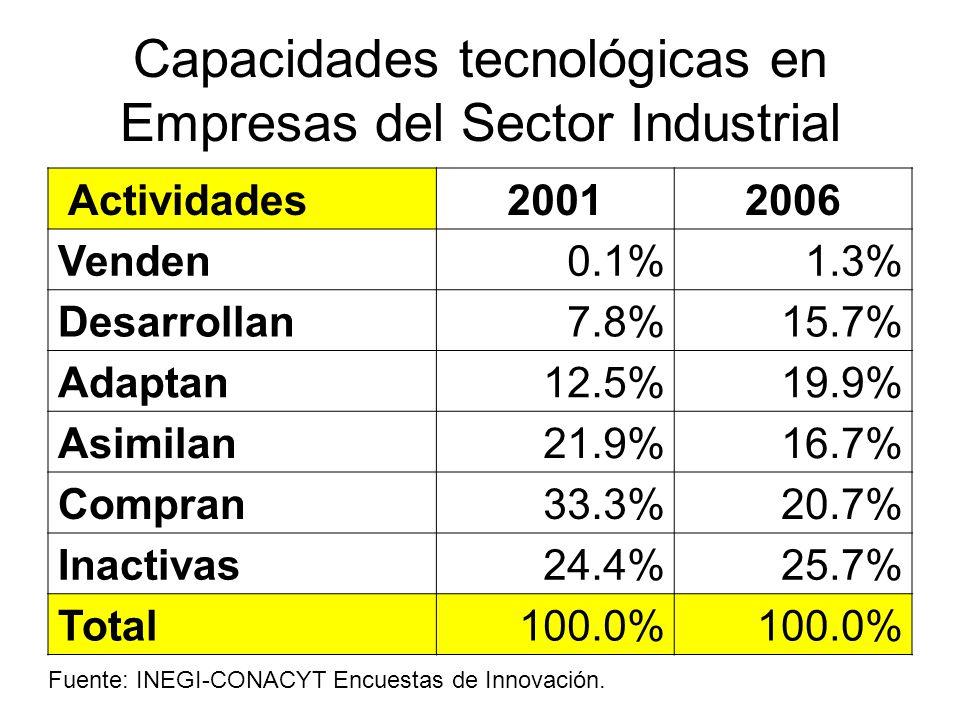 Capacidades tecnológicas en Empresas del Sector Industrial Actividades20012006 Venden0.1%1.3% Desarrollan7.8%15.7% Adaptan12.5%19.9% Asimilan21.9%16.7% Compran33.3%20.7% Inactivas24.4%25.7% Total100.0% Fuente: INEGI-CONACYT Encuestas de Innovación.
