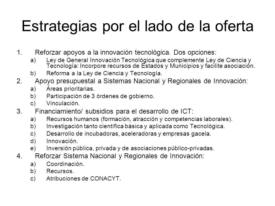 Estrategias por el lado de la oferta 1.Reforzar apoyos a la innovación tecnológica. Dos opciones: a)Ley de General Innovación Tecnológica que compleme
