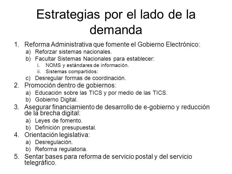 Estrategias por el lado de la demanda 1.Reforma Administrativa que fomente el Gobierno Electrónico: a)Reforzar sistemas nacionales.
