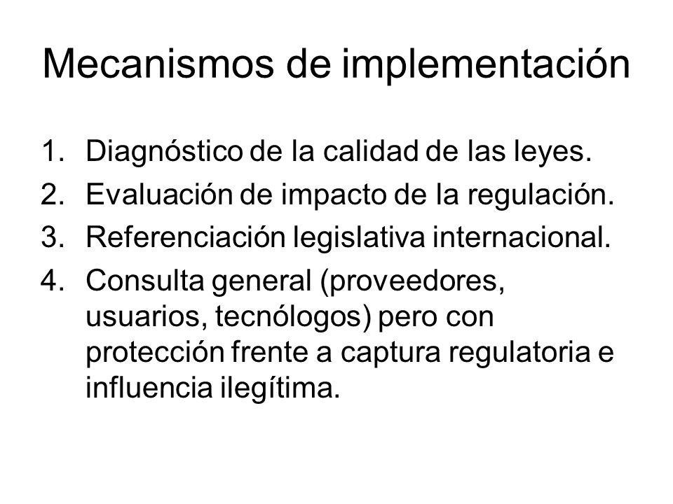 Mecanismos de implementación 1.Diagnóstico de la calidad de las leyes. 2.Evaluación de impacto de la regulación. 3.Referenciación legislativa internac