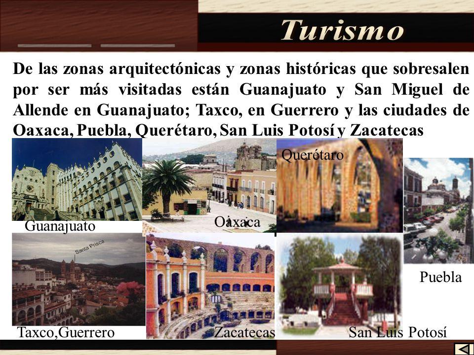 Otro atractivo turístico son las zonas arqueológicas, las más visitadas son: Teotihuacan en el estado de México; Monte Albán y Mitla en el estado de Oaxaca; Palenque en el estado de Chiapas y Uxmal y Chichén Itzá en Yucatán.