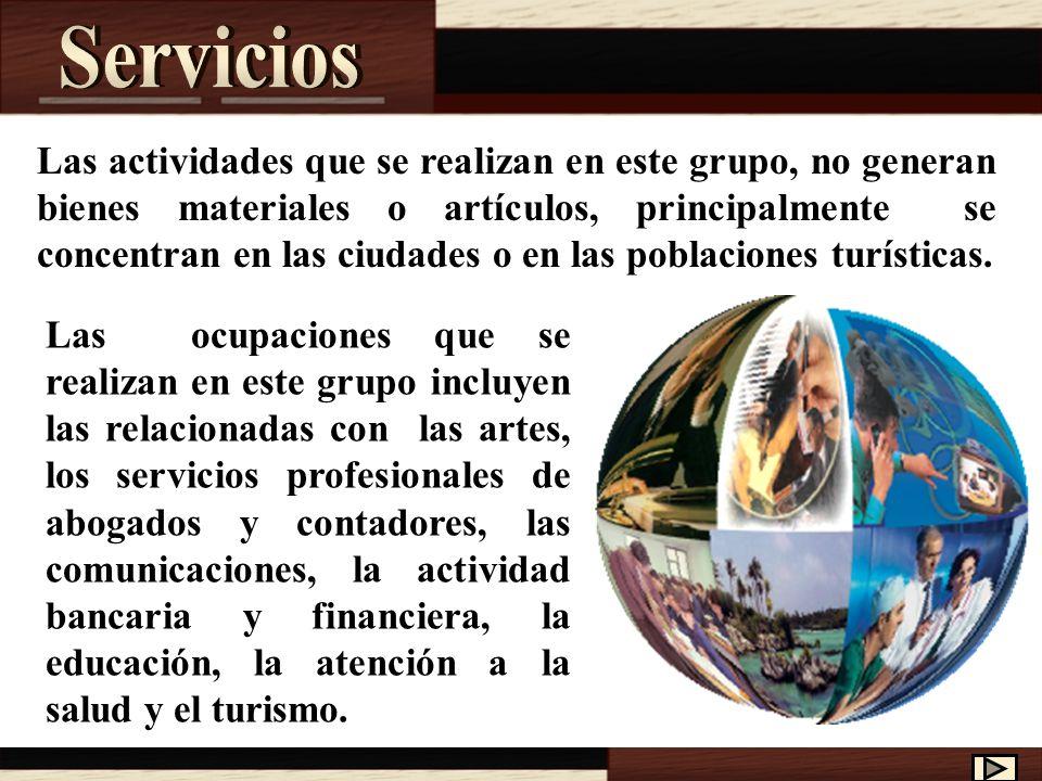 Las actividades que se realizan en este grupo, no generan bienes materiales o artículos, principalmente se concentran en las ciudades o en las poblaciones turísticas.